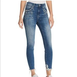 Mavi Tess high rise skinny jeans with pearls